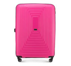 Duża walizka z polipropylenu w geometryczny deseń, fuksja, 56-3T-783-60, Zdjęcie 1