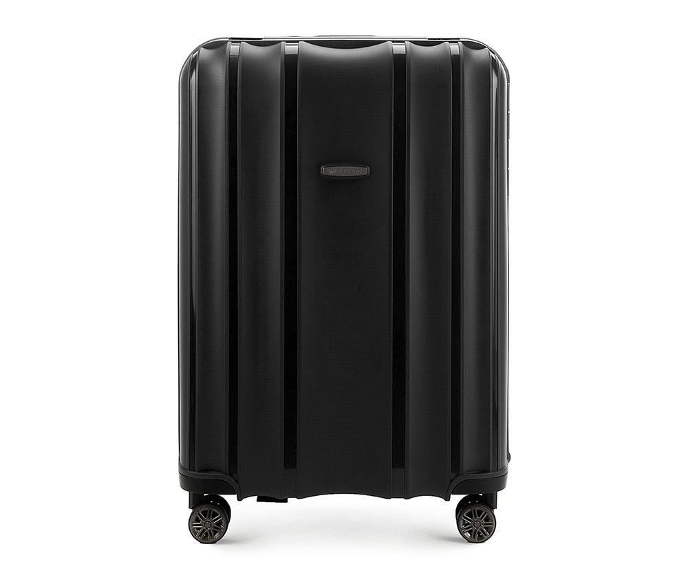 Чемодан на колёсиках 28\\Большой чемодан из коллекции Premium PP. Модель изготовлена из эластичного и ударопрочного полипропилена. Имеет четыре двойных колеса, двухступенчатую, выдвижную ручку и дополнительную ручку, облегчающие перемещение багажа. Закрывается на три пряжки главная из которых, на боковой панели чемодана, оснащена замком TSA (удобен в случае досмотра багажа таможенной службой). Внутри: основное отделение с эластичными ремнями, предохраняющими одежду от перемещения; дополнительно основное отделение оснащено перегородкой с тремя карманами, один из которых из сетки на молнии с ремнями, предохраняющими багаж от перемещения.<br><br>секс: унисекс<br>Цвет: черный<br>материал:: Полипропилен<br>высота (см):: 75<br>ширина (см):: 53<br>глубина (см):: 31<br>размер:: большой<br>объем (л):: 105<br>вес (кг):: 5,2
