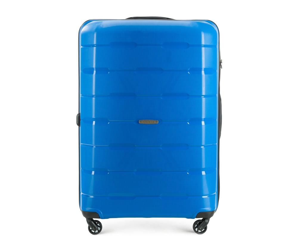 Чемодан на колесиках 28 дюймов Wittchen 56-3T-723-95, синийЧемодан больших размеров  из коллекции Speedster из полипропилена.  Имеет четыре колесика, облегчающие управление, телескопическую алюминиевую и  2 дополнительные прорезиненные  ручки.  Привлекательный дизайн и функциональность чемодана понравится каждому любителю путешествий. Дополнительно замоком TSA, который очень удобен  в случае проверки багажа таможенной службой. Особенности модели:  основное отделение с эластичными ремнями, предохраняющими одежду от перемещения;  отделение на молнии;  2 кармана на молнии, 1 из которых карман - сетка.<br><br>секс: унисекс<br>Цвет: синий<br>материал:: Полипропилен<br>подкладка:: полиэстер<br>высота (см):: 78<br>ширина (см):: 55<br>глубина (см):: 31<br>размер:: большой<br>объем (л):: 101<br>вес (кг):: 4,1