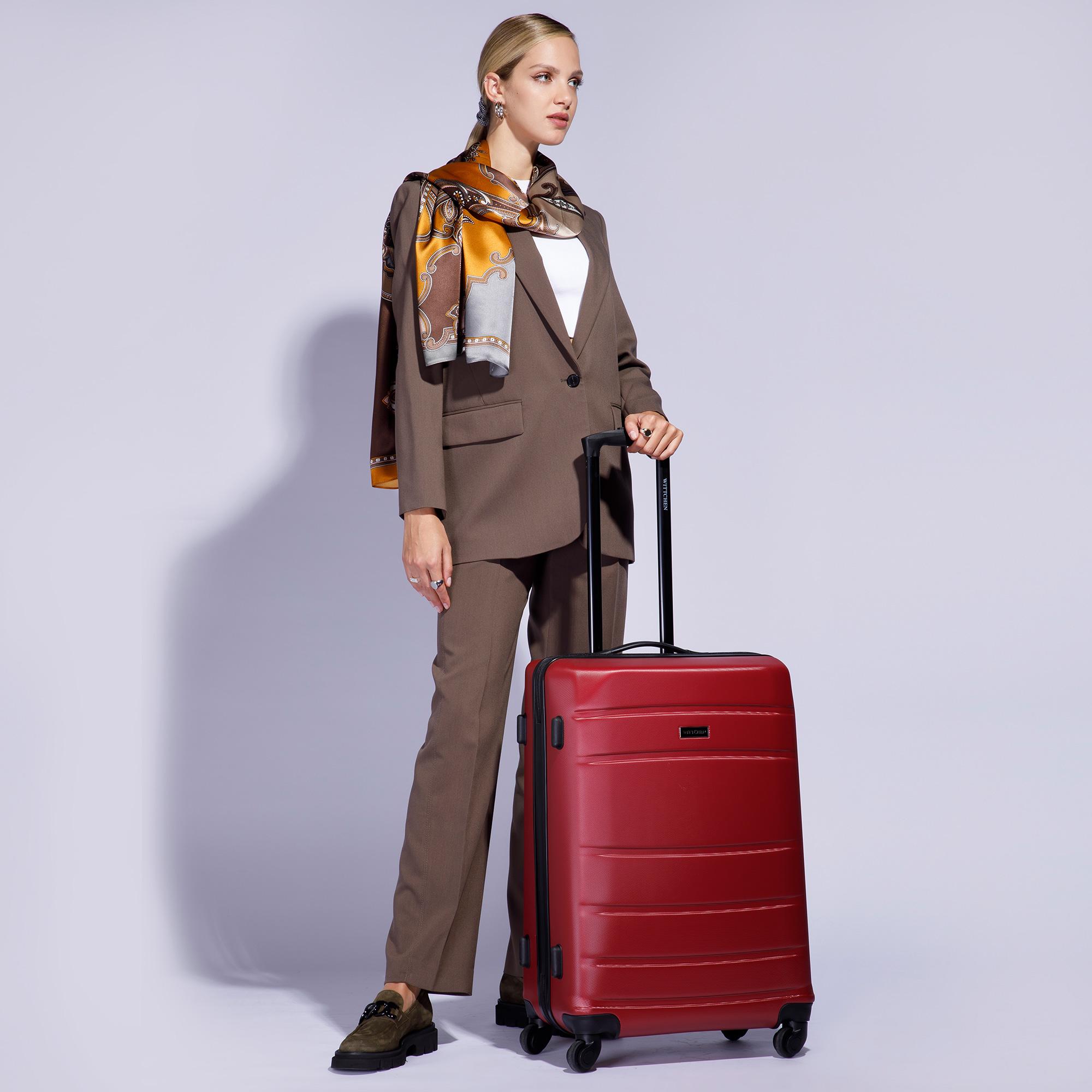 Duża walizka z ABS-u żłobiona, czerwony, 56-3A-653-35, Zdjęcie 1