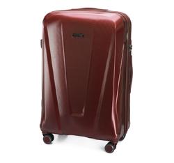 Duża walizka z polikarbonu geometryczna, bordowy, 56-3P-123-35, Zdjęcie 1