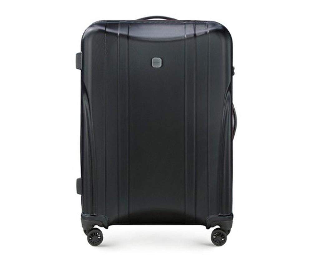 Чемодан на колёсиках 27\\Большой чемодан из коллекции Power PC, сделан из ударопрочного поликарбоната. Чемодан имеет 4 двойных колесика, двухступенчатую выдвижную алюминиевую ручку и   две   резиновые ручки: сверху и сбоку. Современный и оригинальный  дизайн  чемодана   подчеркивает красная нить вплетенная в молнию.  Чемодан имеет двойную  молнию, функцию \AntiTheft\, благодаря которой   чемодан устойчив к  нежелательному открытию острым предметом, кодовый   замок с функцией TSA.&#13;<br>Внутри:&#13;<br>&#13;<br>    два отделения для одежды, один отдел фиксируется ремнями на застежку и второй закрывается на молнию;&#13;<br>    2 сетчатых кармана на молнии.<br><br>секс: унисекс<br>Цвет: черный<br>материал:: Поликарбонат<br>высота (см):: 74<br>ширина (см):: 49<br>глубина (см):: 29<br>вес (кг):: 3.6<br>объем (л):: 83