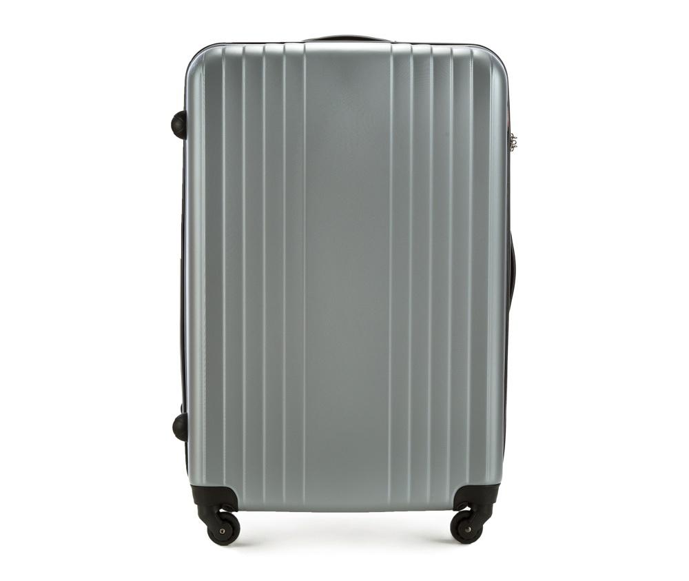 Чемодан на колесиках 27\\Большой чемодан из коллекции Hardy Line, сделан из ударопрочного поликарбоната. Чемодан имеет 4 двойных колесика, двухступенчатую выдвижную алюминиевую ручку и две резиновые ручки: сверху и сбоку. Современный и оригинальный дизайн чемодана подчеркивает красная нить вплетенная в молнию. Чемодан имеет двойную молнию, функцию  \AntiTheft\, благодаря которой чемодан устойчив к нежелательному открытию острым предметом, кодовый замок с функцией TSA. Внутри: два отделения для одежды, один отдел фиксируется ремнями на застежку и второй закрывается на молнию; 2 сетчатых кармана на молнии.<br><br>секс: унисекс<br>Цвет: серый