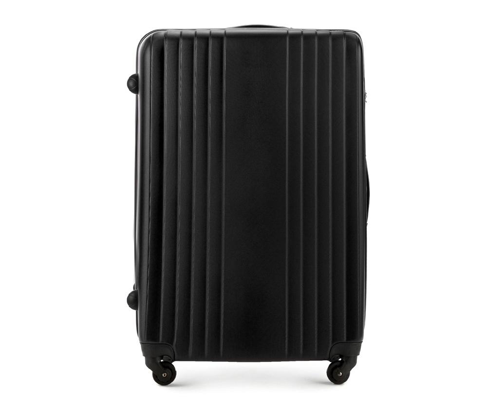 Чемодан на колесиках 27\\Большой чемодан из коллекции Hardy Line, сделан из ударопрочного поликарбоната. Чемодан имеет 4 двойных колесика, двухступенчатую выдвижную алюминиевую ручку и две резиновые ручки: сверху и сбоку. Современный и оригинальный дизайн чемодана подчеркивает красная нить вплетенная в молнию. Чемодан имеет двойную молнию, функцию  \AntiTheft\, благодаря которой чемодан устойчив к нежелательному открытию острым предметом, кодовый замок с функцией TSA. Внутри: два отделения для одежды, один отдел фиксируется ремнями на застежку и второй закрывается на молнию; 2 сетчатых кармана на молнии.<br><br>секс: унисекс<br>Цвет: черный