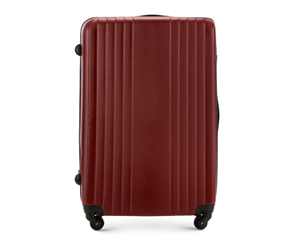 Чемодан на колесиках 27\\Большой чемодан из коллекции Hardy Line, сделан из ударопрочного поликарбоната. Чемодан имеет 4 двойных колесика, двухступенчатую выдвижную алюминиевую ручку и две резиновые ручки: сверху и сбоку. Современный и оригинальный дизайн чемодана подчеркивает красная нить вплетенная в молнию. Чемодан имеет двойную молнию, функцию  \AntiTheft\, благодаря которой чемодан устойчив к нежелательному открытию острым предметом, кодовый замок с функцией TSA. Внутри: два отделения для одежды, один отдел фиксируется ремнями на застежку и второй закрывается на молнию; 2 сетчатых кармана на молнии.<br><br>секс: унисекс<br>Цвет: красный