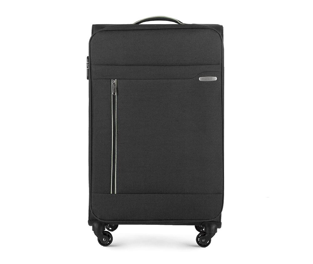 Чемодан на колёсиках Wittchen 56-3S-443-10, черныйБольшой чемодан из коллекции Stripe Line изготовлен из полиэстера. Оснащен четырьмя прочными колесиками, телескопической и дополнительной ручками, которые позволяют легко перемещать багаж. Дополнительно снаружи внешние карманы. Защита в виде кодового замка, который препятствует доступу внутрь чемодана. Внутри:основное отделение на молнии с регулируемыми ремнями, предохраняющими одежду от перемещения; карман - сетка на молнии. Снаружи: с лицевой стороны 2 кармана закрываются на молнию; дополнительно молния, позволяющая увеличить объем чемодана на 5 см.<br><br>секс: унисекс<br>Цвет: черный<br>материал:: Полиэстер<br>подкладка:: полиэстер<br>высота (см):: 79<br>ширина (см):: 46<br>глубина (см):: 29<br>размер:: большой<br>вес (кг):: 3,5<br>объем (л):: 81