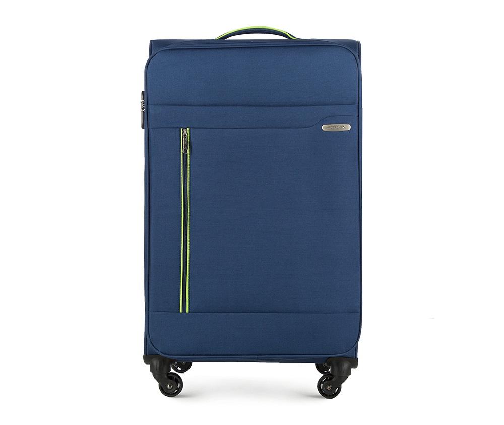 Чемодан на колёсикахБольшой чемодан из коллекции Stripe Line изготовлен из полиэстера. Оснащен четырьмя прочными колесиками, телескопической и дополнительно ручками, которые позволяют легко перемещать багаж. Дополнительно снаружи внешние карманы. Защита в виде кодового замка, который препятствует доступу внутрь чемодана. Внутри:основное отделение на молнии с регулируемыми ремнями, предохраняющими одежду от перемещения; карман - сетка на молнии. Снаружи: с лицевой стороны 2 кармана закрываются на молнию; дополнительно молния, позволяющая увеличить объем чемодана на 5 см.<br><br>секс: унисекс<br>Цвет: синий<br>материал:: Полиэстер<br>подкладка:: полиэстер<br>высота (см):: 79<br>ширина (см):: 46<br>глубина (см):: 29<br>размер:: большой<br>вес (кг):: 3,5<br>объем (л):: 81