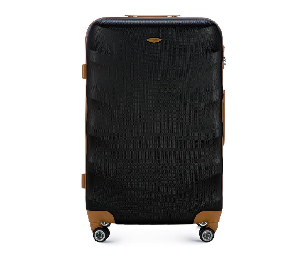 Чемодан на колесикахБольшой чемодан из коллекции J-Line, сделан из высокопрочного АБС - пластика. Чемодан имеет 4 двойных колесика, выдвижную ручку с фиксатором, дополнтельную ручку для удобной переноски багажа, кодовый замок. Характерная особенность - логотип Wittchen на верхней ручке багажа.   Внутри: основное отделение с эластичными ремешками и застежкой-молнией; отсек на молнии.<br><br>секс: унисекс<br>Цвет: черный<br>материал:: Поликарбонат<br>высота (см):: 77<br>ширина (см):: 50<br>глубина (см):: 29<br>размер:: большой<br>объем (л):: 86<br>вес (кг):: 4,2