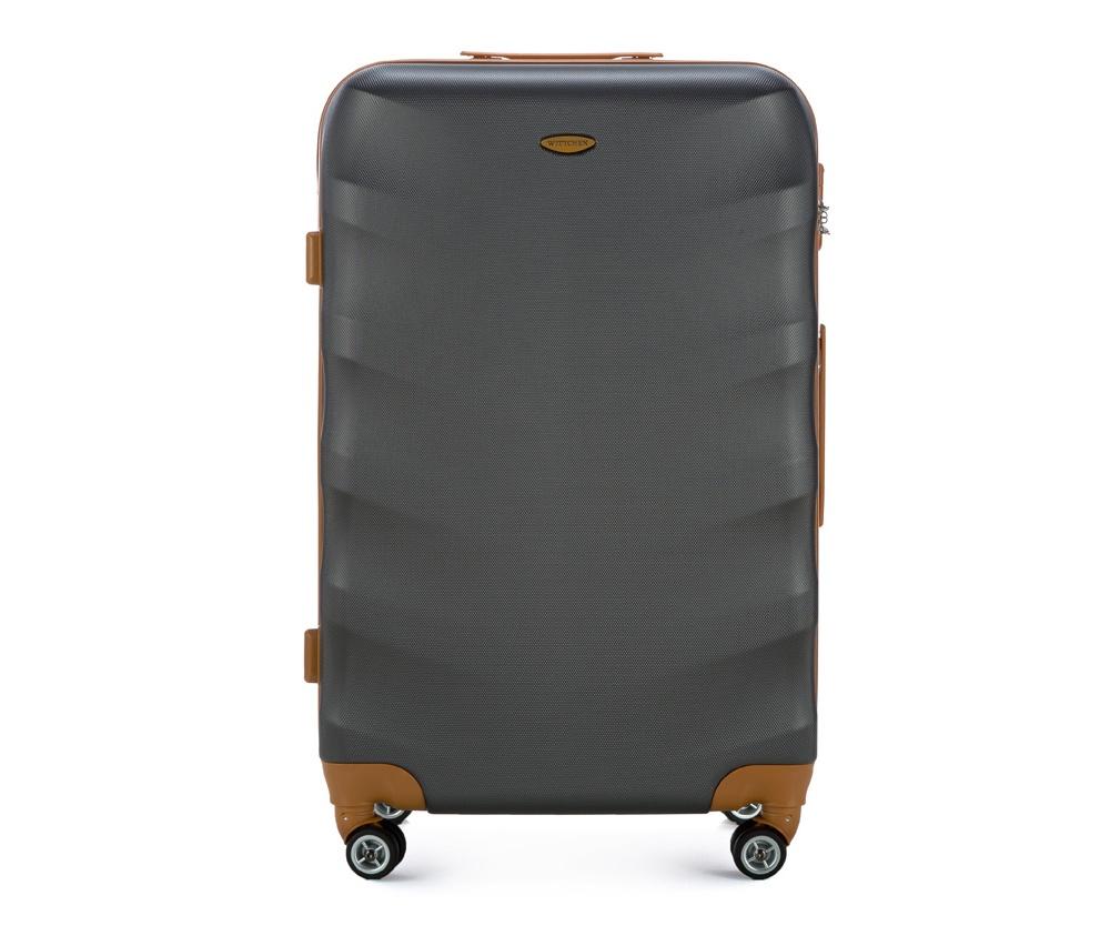 Чемодан на колесикахБольшой чемодан из коллекции J-Line, сделан из высокопрочного АБС - пластика. Чемодан имеет 4 двойных колесика, выдвижную ручку с фиксатором, дополнтельную ручку для удобной переноски багажа, кодовый замок. Характерная особенность - логотип Wittchen на верхней ручке багажа.   Внутри: основное отделение с эластичными ремешками и застежкой-молнией; отсек на молнии.<br><br>секс: унисекс<br>Цвет: серый<br>материал:: ABS пластик<br>высота (см):: 77<br>ширина (см):: 50<br>глубина (см):: 29<br>размер:: большой<br>объем (л):: 86<br>вес (кг):: 4.2