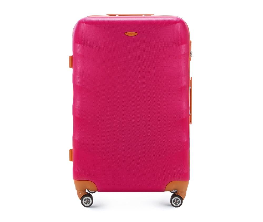 Чемодан на колесикахБольшой чемодан из коллекции J-Line, сделан из высокопрочного АБС - пластика. Чемодан имеет 4 двойных колесика, выдвижную ручку с фиксатором, дополнтельную ручку для удобной переноски багажа, кодовый замок. Характерная особенность - логотип Wittchen на верхней ручке багажа.   Внутри: основное отделение с эластичными ремешками и застежкой-молнией; отсек на молнии.<br><br>секс: женщина<br>Цвет: розовый<br>материал:: ABS пластик<br>высота (см):: 77<br>ширина (см):: 50<br>глубина (см):: 29<br>размер:: большой<br>объем (л):: 86<br>вес (кг):: 4.2