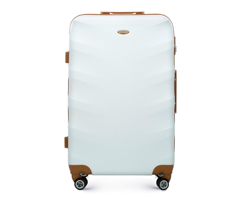 Чемодан на колесикахБольшой чемодан из коллекции J-Line, сделан из высокопрочного АБС - пластика. Чемодан имеет 4 двойных колесика, выдвижную ручку с фиксатором, дополнтельную ручку для удобной переноски багажа, кодовый замок. Характерная особенность - логотип Wittchen на верхней ручке багажа.   Внутри: основное отделение с эластичными ремешками и застежкой-молнией; отсек на молнии.<br><br>секс: унисекс<br>Цвет: белый<br>материал:: ABS пластик<br>высота (см):: 77<br>ширина (см):: 50<br>глубина (см):: 29<br>размер:: большой<br>объем (л):: 86<br>вес (кг):: 4.2