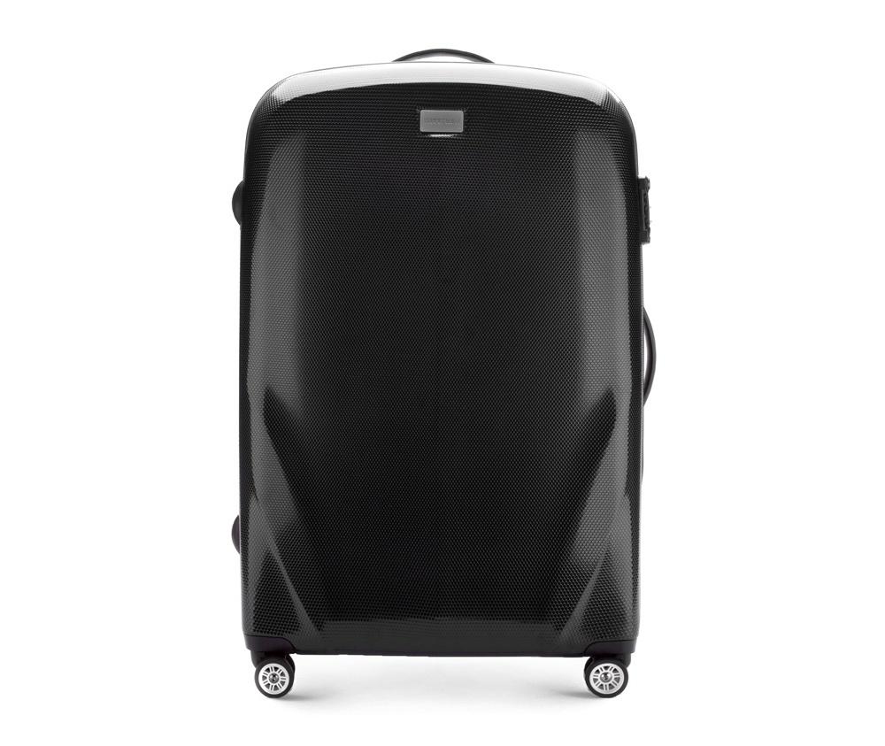 Чемодан на колёсиках 28\\Большой чемодан из коллекции PC Ultra Light сделан из ударопрочного поликарбоната, имеет 4 колесика сделанные из пластика ABS с термопластичным покрытием, трехступенчатая выдвижная ручка, резиновая ручка для ношения в руке, лицензионный кодовый замок TSA.     Особенности модели:   основное отделение с эластичными ремешками и застежкой-молнией; отделение на молнии; 2 кармана-сетки на молнии.<br><br>секс: унисекс<br>Цвет: черный<br>материал:: поликарбонат<br>высота (см):: 79<br>ширина (см):: 53<br>глубина (см):: 27<br>вес (кг):: 3.7<br>объем (л):: 95