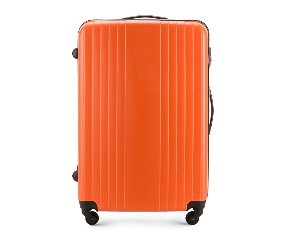 Чемодан на колесиках 27\\Большой чемодан из коллекции Hardy Line, сделан из ударопрочного поликарбоната. Чемодан имеет 4 двойных колесика, двухступенчатую выдвижную алюминиевую ручку и две резиновые ручки: сверху и сбоку. Современный и оригинальный дизайн чемодана подчеркивает красная нить вплетенная в молнию. Чемодан имеет двойную молнию, функцию  \AntiTheft\, благодаря которой чемодан устойчив к нежелательному открытию острым предметом, кодовый замок с функцией TSA. Внутри: два отделения для одежды, один отдел фиксируется ремнями на застежку и второй закрывается на молнию; 2 сетчатых кармана на молнии.<br><br>секс: унисекс<br>Цвет: оранжевый