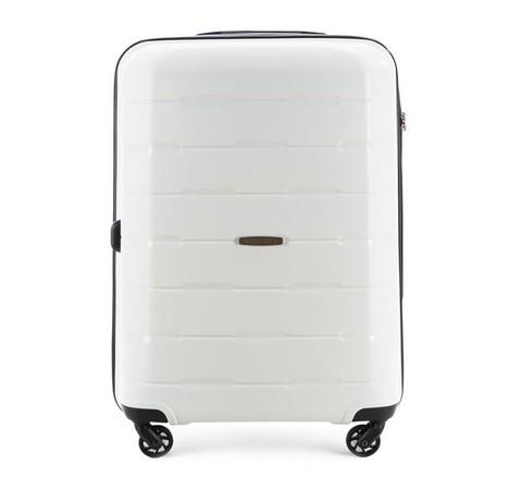 Duża walizka z polipropylenu żłobiona, biały, 56-3T-723-77, Zdjęcie 1