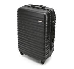 Duża walizka z ABS-u z żebrowaniem, czarny, 56-3A-313-11, Zdjęcie 1