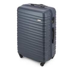 Duża walizka z ABS-u z żebrowaniem, granatowy, 56-3A-313-91, Zdjęcie 1
