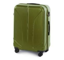 Duża walizka z polikarbonu żłobiona, zielony, 56-3P-813-80, Zdjęcie 1
