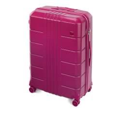 Duża walizka z polikarbonu żłobiona, różowy, 56-3P-823-60, Zdjęcie 1