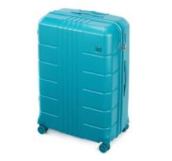 Duża walizka z polikarbonu żłobiona, turkusowy, 56-3P-823-95, Zdjęcie 1