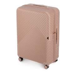 Duża walizka z polikarbonu w paseczki, pudrowy róż, 56-3P-843-77, Zdjęcie 1