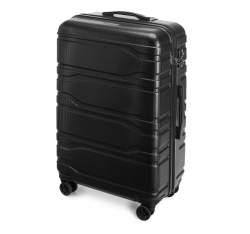 Duża walizka z polikarbonu tłoczona, czarny, 56-3P-983-11, Zdjęcie 1