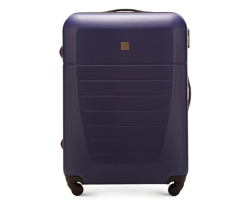Большой чемодан 27\Большой чемодан сделан из высокопрочного и устойчивого к царапинам пластика ABS. Выдвижная ручка, главное отделение на молнии с кодовым замком TSA, разделённое на две части: одно отделение с фиксирующими ремнями для одежды, второе отделение закрывается на молнию, внутренний карман на молнии.<br><br>секс: унисекс<br>Цвет: синий<br>материал:: ABS пластик<br>подкладка:: полиэстр<br>высота (см):: 74<br>ширина (см):: 51<br>глубина (см):: 26<br>размер:: большой<br>объем (л):: 81<br>вес (кг):: 4.2