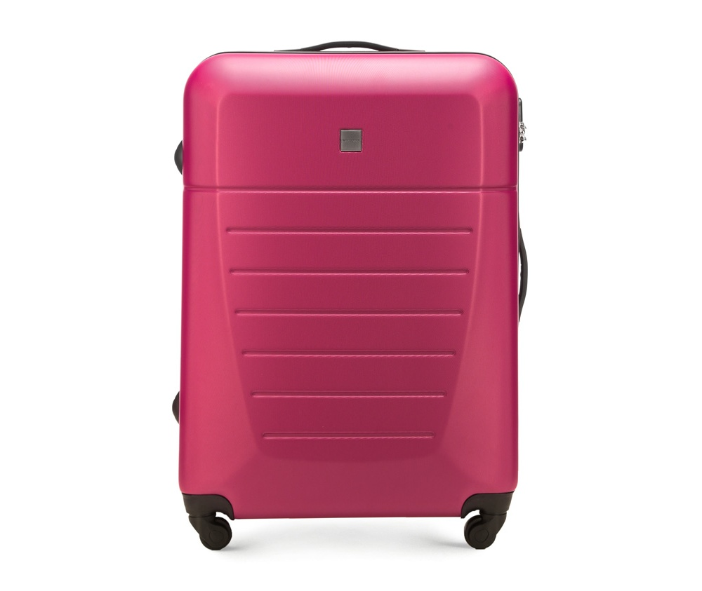 Большой чемодан 27\Большой чемодан сделан из высокопрочного и устойчивого к царапинам пластика ABS. Выдвижная ручка, главное отделение на молнии с кодовым замком TSA, разделённое на две части: одно отделение с фиксирующими ремнями для одежды, второе отделение закрывается на молнию, внутренний карман на молнии.<br><br>секс: унисекс<br>Цвет: розовый<br>материал:: ABS пластик<br>подкладка:: полиэстр<br>высота (см):: 74<br>ширина (см):: 51<br>глубина (см):: 26<br>размер:: большой<br>объем (л):: 81<br>вес (кг):: 4.2