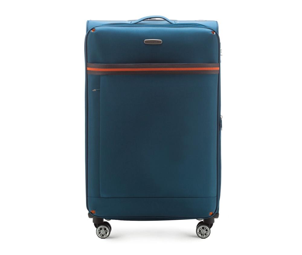 Большой чемодан 28\ Wittchen 56-3S-493-95, голубойБольшой чемодан из коллекции  Comfort Line сделан из высокопрочного полиэстра. Выдвижная ручка, главное отделение на молнии с кодовым замком TSA, разделённое на две части: одно отделение с фиксирующими ремнями для одежды, второе отделение закрывается на молнию, внутренний карман на молнии.<br><br>секс: унисекс<br>Цвет: голубой<br>материал:: Полиэстер<br>подкладка:: полиэстр<br>высота (см):: 81<br>ширина (см):: 47<br>глубина (см):: 31<br>размер:: большой<br>объем (л):: 96<br>вес (кг):: 3,9