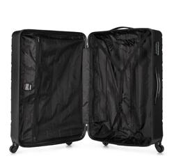 Duża walizka z ABS-u w ukośną kratkę, stalowo - czarny, 56-3A-553-11, Zdjęcie 1