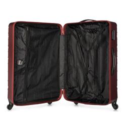 Duża walizka z ABS-u w ukośną kratkę, bordowy, 56-3A-553-31, Zdjęcie 1