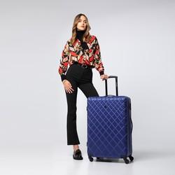 Duża walizka z ABS-u w ukośną kratkę, granatowy, 56-3A-553-91, Zdjęcie 1