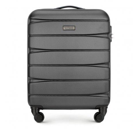 Walizka kabinowa z ABS-u w poziome pasy, grafitowy, 56-3A-361-81, Zdjęcie 1
