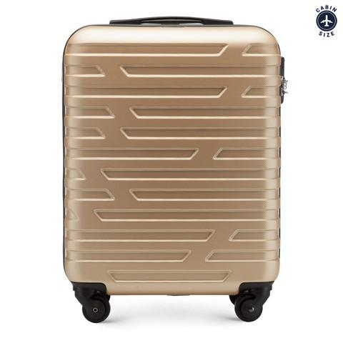 Walizka kabinowa z ABS-u w geometryczny deseń, złoty, 56-3A-391-10, Zdjęcie 1