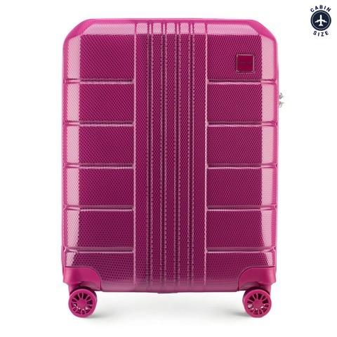 Walizka kabinowa z polikarbonu żłobiona, różowy, 56-3P-821-95, Zdjęcie 1
