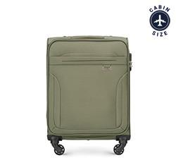 Walizka kabinowa miękka z przeszyciami, khaki, V25-3S-261-40, Zdjęcie 1
