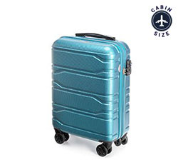 Walizka kabinowa z polikarbonu tłoczona, niebieski, 56-3P-981-96, Zdjęcie 1