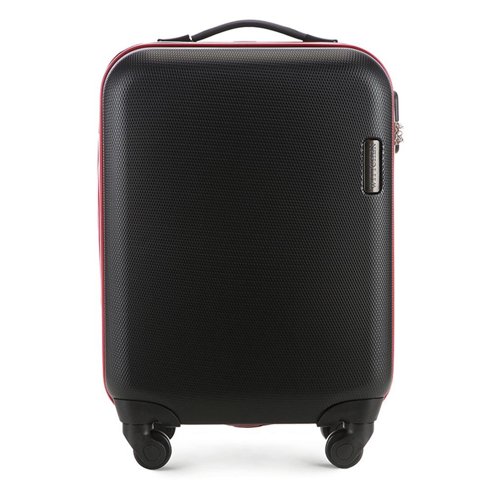 Чемодан на колёсиках 20\\Маленький чемодан из коллекции ABS S-Line, сделан из высокопрочного и устойчивого к царапинам пластика ABS. Иммет четыре колесика, выдвижную ручку и резиновую ручку, главное отделение на молнии с кодовым замком, разделено на две части: одно отделение с фиксирующими ремнями для одежды, второе отделение закрывается на молнию, внутренний карман на молнии. Размеры чемодана соответствует требованиям, предъявляемым к ручной клади в бюджетных авиакомпаниях<br><br>секс: унисекс<br>Цвет: черный<br>материал:: ABS пластик<br>высота (см):: 55<br>ширина (см):: 36<br>глубина (см):: 20<br>вес (кг):: 2.8<br>объем (л):: 27