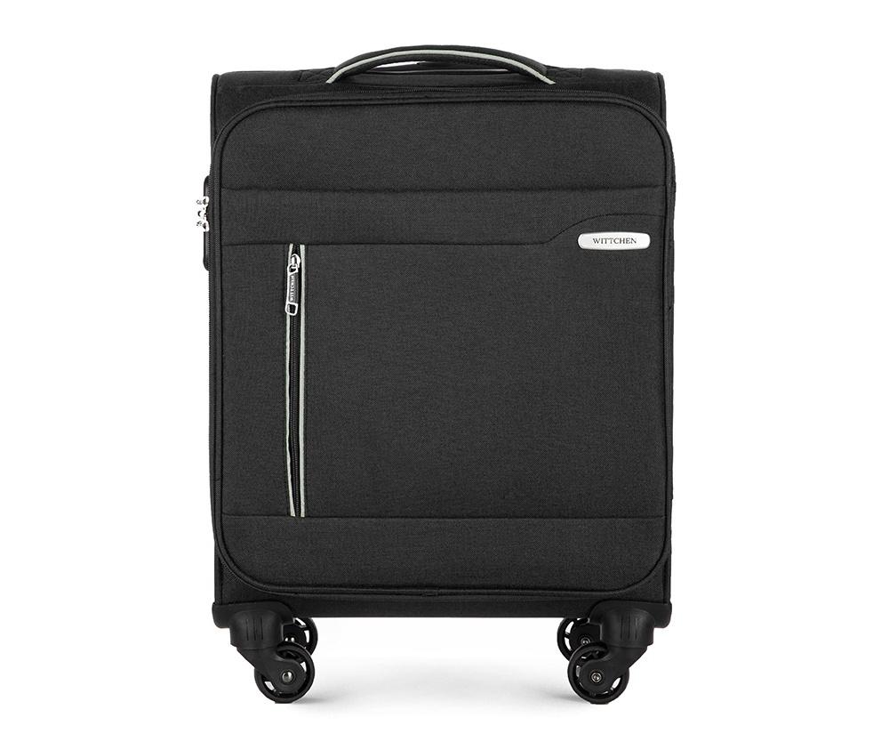 Чемодан на колёсикахМаленький чемодан из коллекции Stripe Line изготовлен из полиэстера. Оснащен четырьмя прочными колесиками, телескопической и дополнительной ручками, которые позволяют легко перемещать багаж. Дополнительно снаружи внешние карманы. Защита в виде кодового замка, который препятствует доступу внутрь чемодана. Внутри: основное отделение на молнии с регулируемыми ремнями, предохраняющими одежду от перемещения; карман - сетка на молнии. Снаружи: с лицевой стороны 2 кармана закрываются на молнию; дополнительно молния, позволяющая увеличить объем чемодана на 5 см.<br><br>секс: унисекс<br>Цвет: черный<br>материал:: Полиэстер<br>высота (см):: 55<br>ширина (см):: 38<br>глубина (см):: 20<br>размер:: ручная кладь<br>вес (кг):: 2,4<br>объем (л):: 31