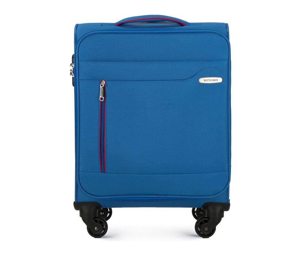 Чемодан на колёсикахМаленький чемодан из коллекции Stripe Line изготовлен из полиэстера. Оснащен четырьмя прочными колесиками, телескопической и дополнительно ручками, которые позволяют легко перемещать багаж. Дополнительно снаружи внешние карманы. Защита в виде кодового замка, который препятствует доступу внутрь чемодана. Внутри:основное отделение на молнии с регулируемыми ремнями, предохраняющими одежду от перемещения; карман - сетка на молнии. Снаружи: с лицевой стороны 2 кармана закрываются на молнию; дополнительно молния, позволяющая увеличить объем чемодана на 5 см.<br><br>секс: унисекс<br>Цвет: голубой<br>материал:: Полиэстер<br>высота (см):: 55<br>ширина (см):: 39<br>глубина (см):: 20<br>размер:: маленький<br>вес (кг):: 2,4<br>объем (л):: 31