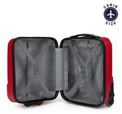 Walizka kabinowa z ABS-u w pionowe pasy, czerwony, V25-10-232-35, Zdjęcie 1