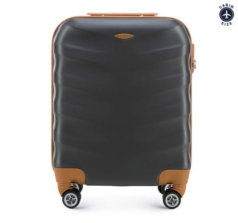 Walizka kabinowa z ABS-u z brązowymi wstawkami, szary, 56-3A-231-88, Zdjęcie 1