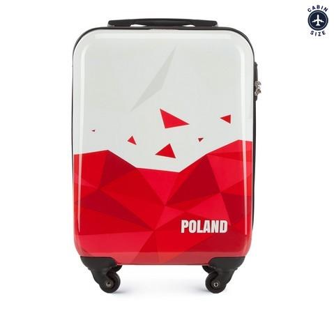 Walizka kabinowa z ABS-u Poland, biało - czerwony, 56-3A-241-WR, Zdjęcie 1