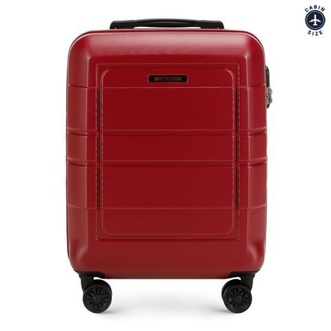 Walizka kabinowa z geometrycznymi żłobieniami, czerwony, 56-3H-541-9R, Zdjęcie 1