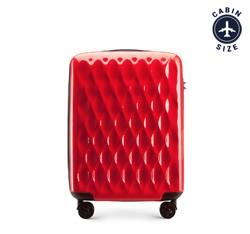 Walizka kabinowa z ABS-u karbowana, czerwony, 56-3H-551-30, Zdjęcie 1