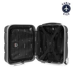 Walizka kabinowa z ABS-u ze żłobieniami, czarny, 56-3A-281-10, Zdjęcie 1