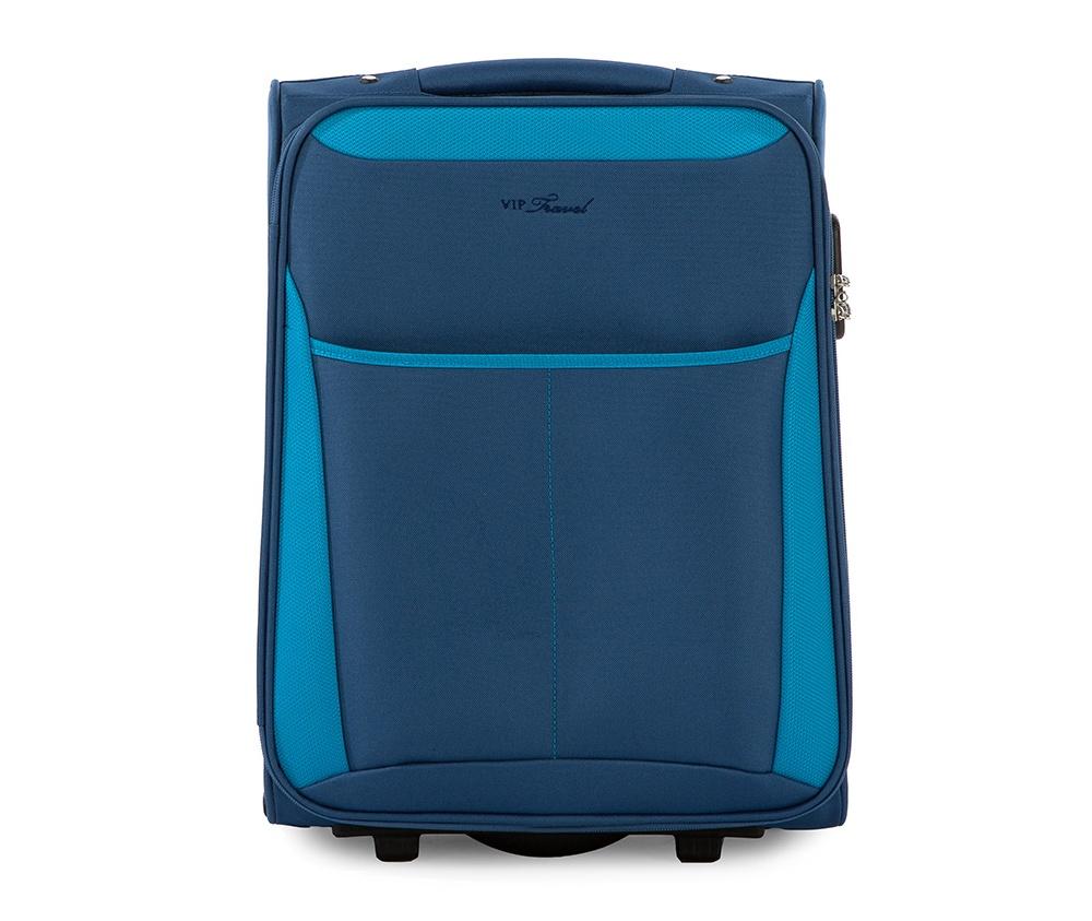 Чемодан текстильный 19\\Маленький чемодан из коллекции VIP Travel \ABC Line\, сделан   из  высокопрочного полиэстера. Два прочных колеса, позволяют легко   перемещать  чемодан. Имеет  двухступенчатую телескопическую ручку с   фиксатором и дополнительную  ручку сверху .&#13;<br>Внутри:&#13;<br>&#13;<br>    один большой отдел для одежды, который фиксируется эластичными резинками на застежках &#13;<br>    отделение на молнии.&#13;<br>&#13;<br>Снаружи:&#13;<br>&#13;<br>    карман на молнии&#13;<br>    на тыльной стороне бирка для вписания данных владельца багажа.<br><br>секс: унисекс<br>Цвет: голубой<br>материал:: Полиэстер<br>высота (см):: 50<br>ширина (см):: 38<br>глубина (см):: 19<br>вес (кг):: 2.1<br>объем (л):: 26
