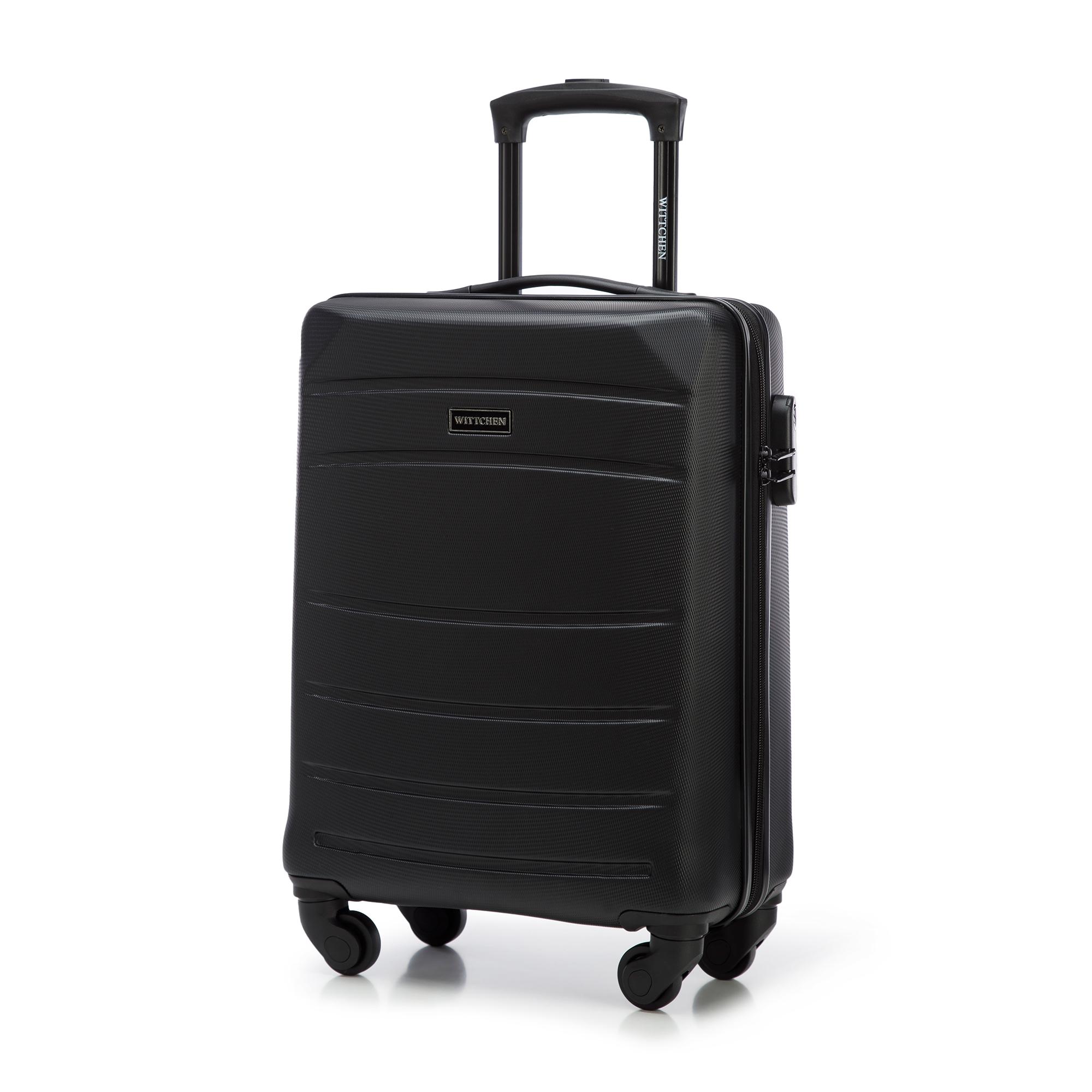 Walizka kabinowa z ABS-u żłobiona, czarny, 56-3A-651-10, Zdjęcie 1
