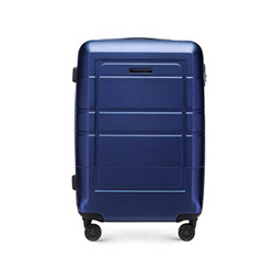 Średnia walizka z geometrycznymi żłobieniami, granatowy, 56-3H-542-9R, Zdjęcie 1