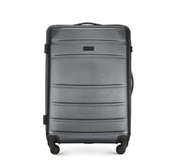 Średnia walizka z ABS-u w poziome żłobienia, szary, 56-3A-652-01, Zdjęcie 1