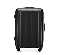Średnia walizka z polikarbonu fakturowana, czarny, 56-3P-112-10, Zdjęcie 1